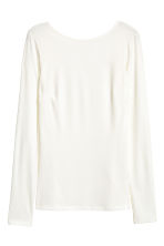 Ribbed jersey top - Natural white - Ladies | H&M CN 1